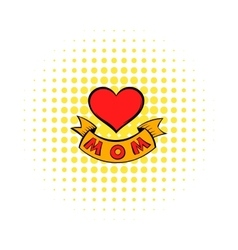 Mothers Day Heart with ribbon icon comics style vector image
