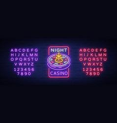 night casino logo in neon style roulette neon vector image