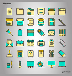 office supply color line icons perfect pixel vector image