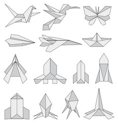 Origami icons set vector