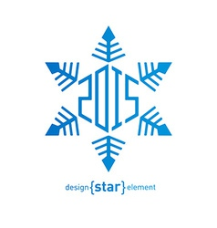 Original snowflake with new year date on white vector image