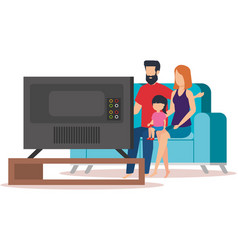 parents couple with daughter waching tv vector image