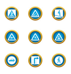 Passage icons set flat style vector