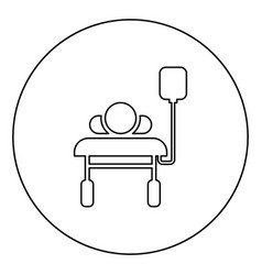 Patient lying on medical bed couch with dropper vector