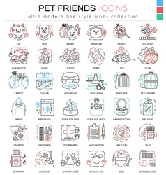pet friend color line outline icons for vector image