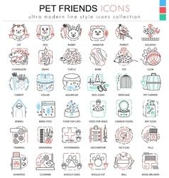 pet friend color line outline icons vector image