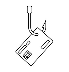 Phishing credit card icon outline style vector