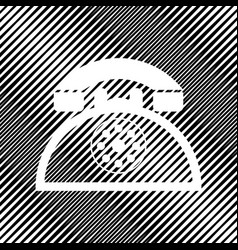 Retro telephone sign icon hole in moire vector