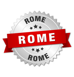 Rome round silver badge with red ribbon vector