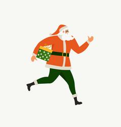 santa claus running with a gift box santa claus vector image