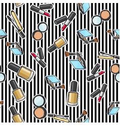seamless pattern nail polish powder lipstick vector image vector image