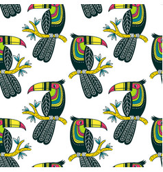 seamless pattern of cute colorful toucan in boho vector image