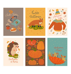 set cute autumn cards graphics vector image