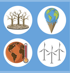 Set global warming icons vector