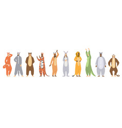 set kigurumi or animal onesies for kids vector image