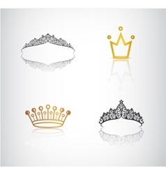 set of crowns tiaras lace and simple vector image