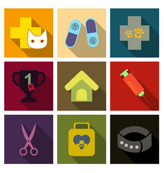 set of flat icons veterinary science vector image