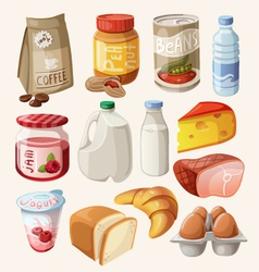 Set of food and products that we eat every day vector