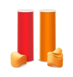 Set of Red Orange Box with Stack Potato Chips vector image