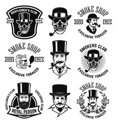 set of smokers club emblems vintage gentlemans vector image