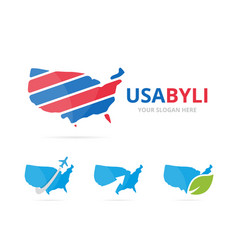 set of usa logo combination america and country vector image