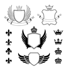 set winged shields - coat arms - emblems vector image