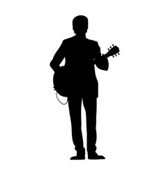 Silhouettes of musicians with guitar vector