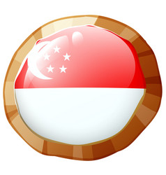 Singapore flag on round badge vector