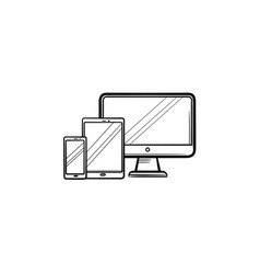 Smartphone tablet and monitor hand drawn outline vector