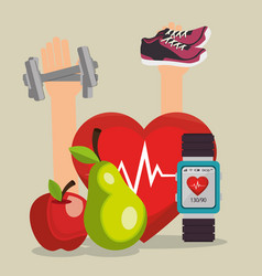 Smartwatch with healthy lifestyle icons vector