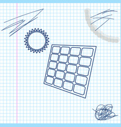 solar energy panel and sun line sketch icon vector image