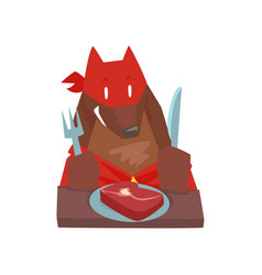 Superhero dog character eating food with fork and vector