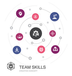 Team skills colored circle concept with simple vector