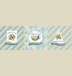 three colored labels with bananas vector image