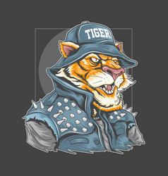 Tiger use rocker jacket and bucket hat vector
