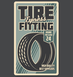tire fitting works retro style vector image