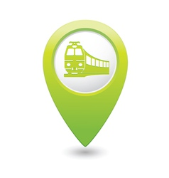 train icon on map pointer green vector image