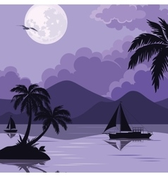 Tropical sea landscape with moon and palm vector image