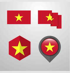 vietnam flag design set vector image