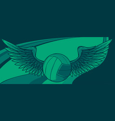 volleyball ball logo with long wings vector image