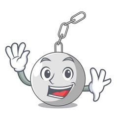 Waving wrecking ball hanging from chain cartoon vector