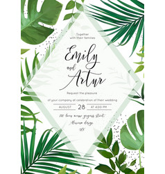 Wedding floral tropical forest watercolor invite vector