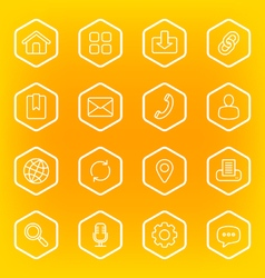 white line web icon set with hexagon frame vector image
