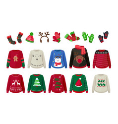 winter cloth ugly sweaters hat mittens and socks vector image