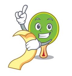 With menu ping pong racket mascot cartoon vector