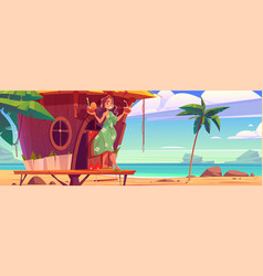 woman with cocktails in tiki hut on hawaii beach vector image