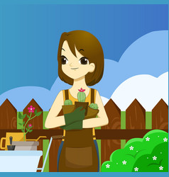 young adult woman holding succulents and ready to vector image