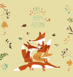 cute foxes with autumn leaves and plants vector image