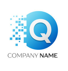 realistic letter q logo in colorful circle vector image