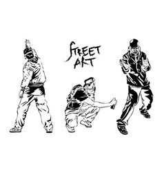 set of graffiti artists collection street art vector image